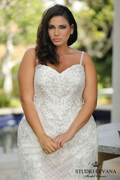 Wendy is a mermaid plus size bridal gown with a stylish lace. Studio Levana