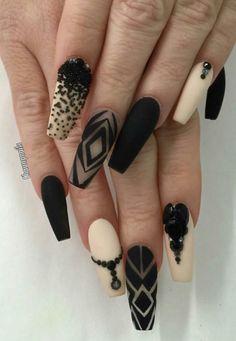Black beige matte nails design nailart inspiration