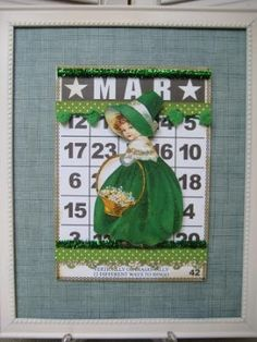 The Gypsy Magpie: pretty little lassie for St Pat's Day using a BINGO card.