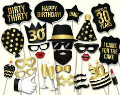 New years photo booth props. 30th Birthday Cakes For Men, 30th Birthday Themes, Thirty Birthday, Birthday Photo Booths, Birthday Photos, Birthday Party Decorations, Birthday Parties, Birthday Board, Birthday Ideas