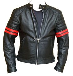Red Striped Cafe Racer Style Retro Leather Jacket | Stylees.co.uk - Motorcycle & Leather Fashion Clothing Store - Motorcycle Jackets, Helmets, Biker Boots, Leather Pants & Chaps