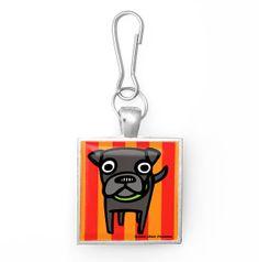 Dog + Stripes Pop Art Tile Zipper Pull Charm