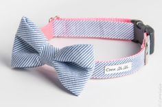 Blue,Seersucker,Bow,Tie,Dog,Collar,Pets, Collar, dog, large dog, crew lala, preppy, bowtie, bow tie, girl bow, girl, bow, collar, wedding, s...
