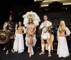 Caesar and his Royal Court at the closing night party for IPW 2013 at the Garden for the Gods pool at Caesars Palace