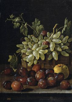 Luis Egidio Meléndez  Bodegón con ciruelas, cesta de uvas y manzana 1762 Óleo/Lienzo, 48 cm x 35 cm  © Museo Nacional del Prado