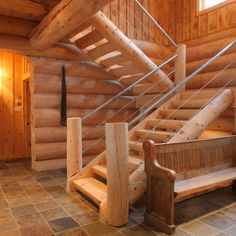 Nice and clean - half log staircase construction A Frame House Plans, Small House Floor Plans, Rustic Staircase, Staircase Design, Colorado Homes, Cottage Interiors, House In The Woods, Log Homes, Stairways