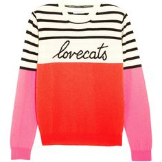Chinti and Parker Lovecats intarsia cashmere sweater (£350) ❤ liked on Polyvore featuring tops, sweaters, shirts, color block shirt, red shirt, striped shirt, color block sweater and multi colored striped shirt