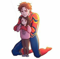 This would probably happen if you consider how much Peter loved and looked up Tony. He would most likely do anything he can to protect her. Hero Marvel, Marvel Fan Art, Marvel Avengers, Funny Marvel Memes, Marvel Jokes, Marvel Dc Comics, Spiderman, Mundo Marvel, Marvel Drawings