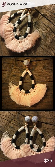 "The Chloe in Dusty Pink Materials: faux white turquoise, silk tassel, enamel, cloth, and brass with gold plate. Beautiful quality comparable to Anthropologie. Gorgeous statement piece. Appx 3"" long Jewelry Earrings"