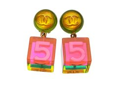 Authentic Vintage #CHANEL #CClogo No.5 pink Dangle Cube Earrings sold by #LadyDangerVintage @etsy