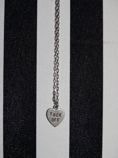 Small heart necklace with FUCK OFF engraving. Small Heart Necklace, Dog Tag Necklace, Fun Stuff, Silver, Jewelry, Style, Fun Things, Swag, Jewlery