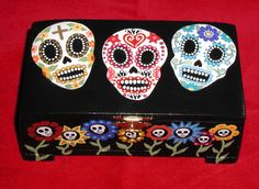 Day of the Dead Sugar Skull & Flowers Handpainted Wood Trinket Jewelry Box Made To Order. $39.00, via Etsy.