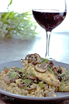 Chicken Mushroom Barley Bake   It  is hearty enough for a great one dish dinner. Succulent chicken smothered in a yogurt sauce, topped with mushrooms, all on a bed of bacon flavoured barley.@homemadeandyumm
