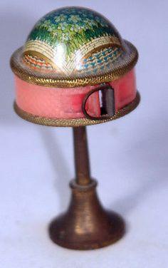 ANTIQUE FIGURAL~~ENAMEL & METAL lamp TAPE MEASURE~~SEWING NOVELTY