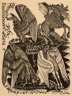 Exlibris by Bruno da Osimo. Owner: Hanns Heeren.  Country:Italy.  Year: 1956 Techniques:  (X1) Woodcut Search words:  Unicorn, Fable Animal, Bird Phoenix, Pegasus**