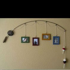 Cool way to hang pictures - depending on the theme of the room. Man cave, teenager,  beach house?
