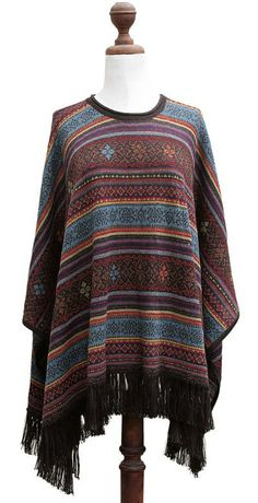 Andean Multicolor Alpaca Wool Poncho - Life Celebration | NOVICA
