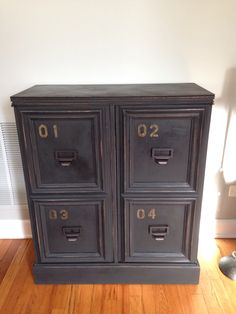 Black distressed chalk paint project. Used Amy Howard paint from Ace Hardware.