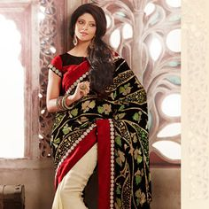 Black and Beige Velvet and Faux Georgette Jacquard Saree with Blouse