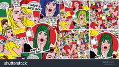 Pop art backgrounds set. Retro comic art patterns with surprised girl, woman with megaphone and other illustration. Sketch comic girls. Advertising posters. Party invitation. Cartoon background.