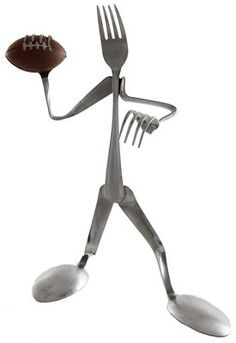 Funny and totally unique flatware products made out of forks and spoon which is another awesome addition to the home and office supplies line. This Football Player Display Fork is a perfect gift for a