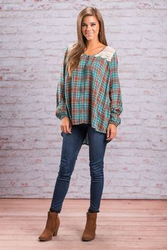 """""""Past Meets Present Top, Brown-Teal"""" This top is the perfect combination of vintage and trendy! We love the lace and plaid paired together! Oh, and those bloused sleeved really complete the look!  #newarrivals #shopthemint"""
