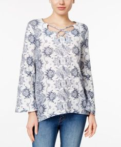 Style & Co Printed Bell-Sleeve Top, Only at Macy's