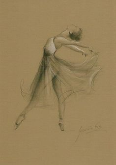 Limited Edition 8 x 12 print/drawing on BROWN PAPER of original pencil drawing by Ewa Gawlik Amazing Drawings, Beautiful Drawings, Cool Drawings, Pencil Drawings, Amazing Art, Dancer Drawing, Ballet Drawings, Ballet Art, Sketch Painting