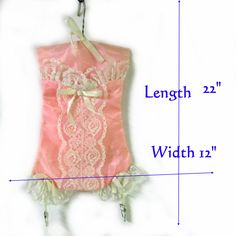 Lingerie bag pink satin corset with lace trim and garters authentic vintage 1950s by pinehaven2 on Etsy