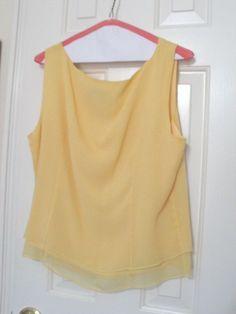 Elliott Lauren 100% Silk Yellow Sleeveless Blouse Top Sz 14 Overlay Sheer Layer  #ElliottLauren #blouse #Work