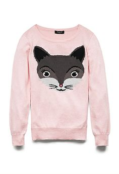 Wild Kitty Sweater (Kids) | FOREVER21 girls - 2000075124. Denim skirt with tights and boots