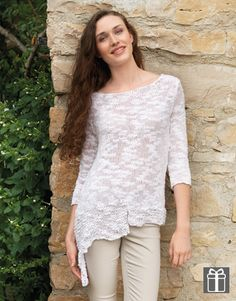 Katia Creta woman jumper free pattern #CoolShine Spring · Summer #Colortrend 2015 #KatiaYarns