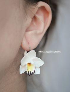 White Orchid earrings white flower earrings fimo flowers