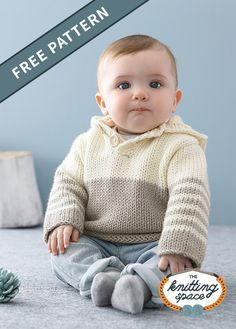 Craft this lovely basic knitted unisex baby sweater with a hood that's ideal for everyday wear. This cozy knitwear makes for an excellent handmade baby shower present. Discover over Free knitting patterns at Free Baby Sweater Knitting Patterns, Knit Baby Sweaters, Love Knitting, Baby Boy Sweater, Baby Patterns, Knitted Baby, Free Childrens Knitting Patterns, Toddler Sweater, Baby Pullover Muster