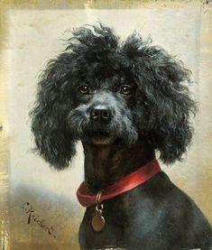 """""""Black Poodle"""" -- by Carl Reichert (1836 -- 1918, Austrian)"""