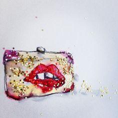 Sylvia Toledano Lips Purse illustration Donna Jean Baxter #donnajeanbaxter #fashion #illustration #fashionillustration #art #sylviatoledano #lips #mouth #purse #glitter