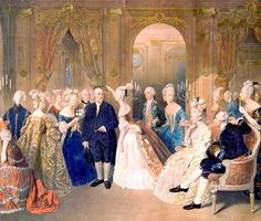 H.M. Queen Marie Antoinette of France and Benjamin Franklin in Versailles Palace