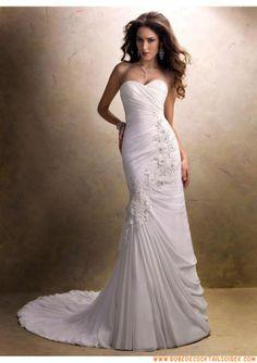 Belle robe de mariée 2013 blanche évasé appliques plissé mousseline