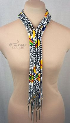Kente Neck Tie Necklace Ankara Necklace by ETurnerCouture on Etsy Diy African Jewelry, African Accessories, African Necklace, Fashion Accessories, African Print Fashion, African Fashion Dresses, Fashion Prints, Boho Fashion, Ghanaian Fashion