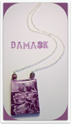 Damask Eggplant Purple & Heather chain necklace, polymer clay Jewelry. $18.00, via Etsy.