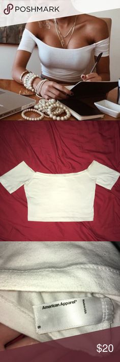 AA Crop Top Off shoulder crop top by American Apparel in white, worn but in very good condition, such an essential! Cover photo creds to Pia Mia American Apparel Tops Crop Tops