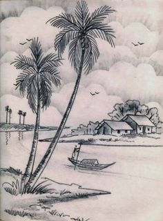 village landscapes still life landscape drawings - pencil sketch scenery Scenery Drawing Pencil, Pencil Sketches Landscape, Pencil Sketch Drawing, Landscape Drawings, Pencil Art Drawings, Cool Art Drawings, Art Drawings Sketches, Pencil Shading, Easy Nature Drawings