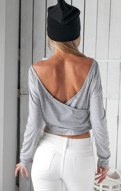stylish ladies women sexy long sleeve backless solid casual crop tops blouse_tees t shirt_women_womens