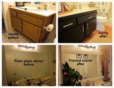 repaint bathroom vanities, add new hardware, and frame mirrors with moulding