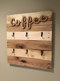 Coffee Signs, Wooden Cutouts, Farmhouse Decor, Keyhole Hanger, Coffee Cup Rack, Mug Rack, Rustic Kitchen, Picture Mugs, Coffee Cups