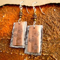 Sterling Silver and copper earrings with stamped by linayu on Etsy, $28.00