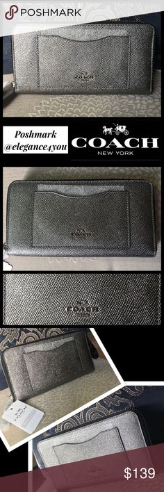 "COACH Authentic Zip Metallic Wallet NEW! Authentic Coach Wallet NEW! Gorgeous shimmery silver/metallic color Silver toned hardware Crossgrain leather Twelve credit card and multifunction pockets Full-length bill compartment Zip coin pocket Outside open pocket Zip-around closure 7 3/4"" (L) x 4"" (H) Perfect size for all essentials!  Will fit an iPhone+ Sorry no trades. @elegance4you Coach Bags Wallets"