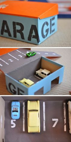 mommo design: DIY TOYS - shoe box garage by greta Toddler Fun, Toddler Activities, Activities For Kids, Projects For Kids, Diy For Kids, Crafts For Kids, Car Crafts, Food Crafts, Ideias Diy