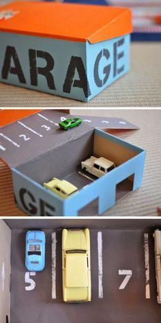Tolles Parkhaus für die kleinen aus einem Schuhkarton basteln