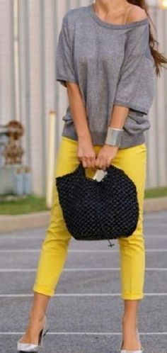 Grey and yellow color combo: Team with a scarf and leather jacket for a nice masculine/feminine look.
